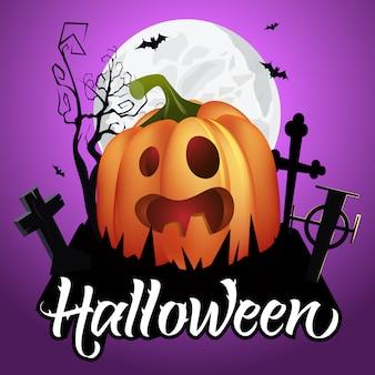 Napis na halloween. upiorna dynia na cmentarzu, nietoperze i księżyc