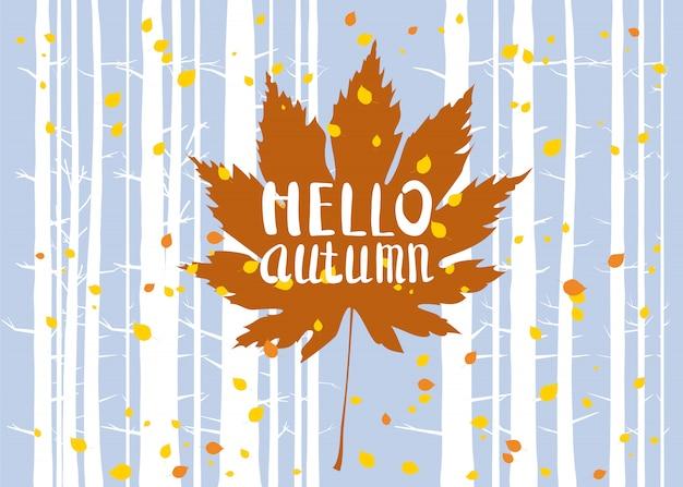Napis na jesienny liść