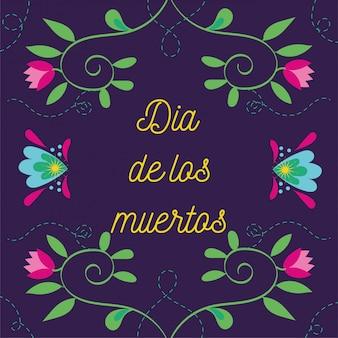 Napis na karcie dia de muertos z dekoracją ogrodową kwiatów
