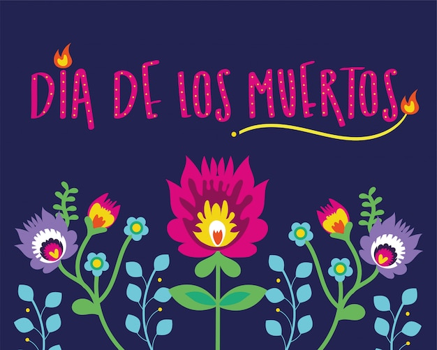 Napis na karcie dia de muertos z kwiatami
