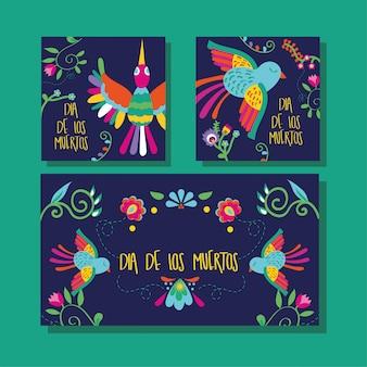 Napis na karcie dia de muertos z ptakami i kwiatami