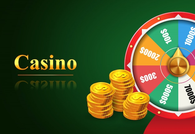 Napis na kasynie, koło fortuny z nagrodami pieniężnymi i stosem złotych monet.