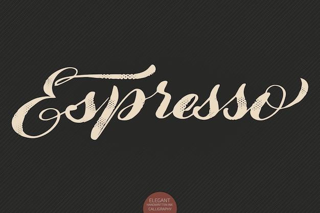 Napis na kawę. wektor ręcznie rysowane kaligrafia espresso