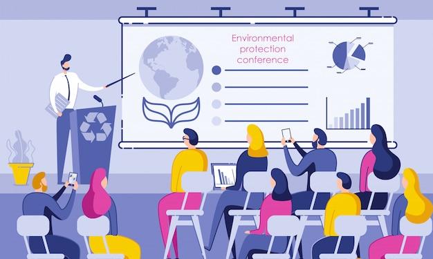 Napis na konferencji ochrony środowiska.