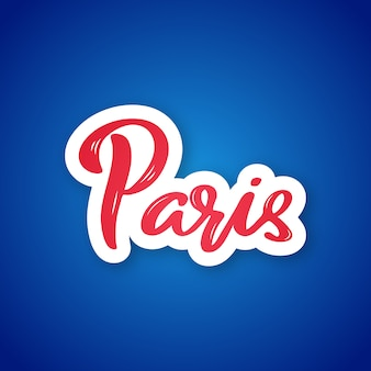 Napis na naklejkę z papieru ciętego w paryżu