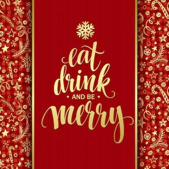 Napis na plakacie jedz drinka i bądź wesoły, kartkę z życzeniami