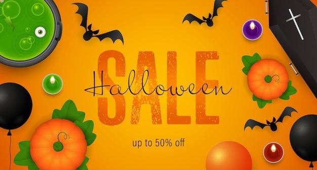Napis na sprzedaż halloween, kocioł z miksturą, trumna