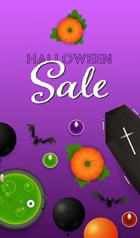 Napis na sprzedaż halloween z balonami, dyniami i miksturą