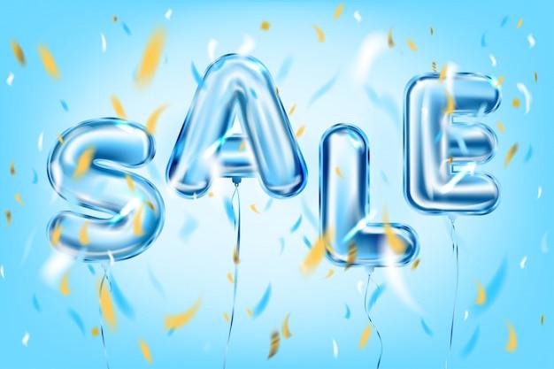 Napis na sprzedaż niebieskimi metalowymi balonami foliowymi w powietrzu