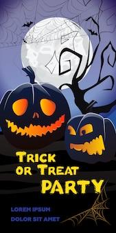 Napis na stronie trick or treat party. jack o latarnie, pajęczyna, drzewo