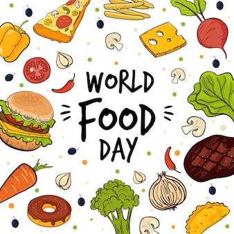 Napis na światowym dniu żywności w otoczeniu środków spożywczych