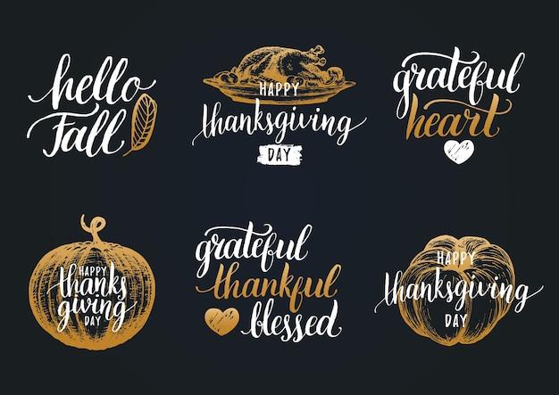 Napis na święto dziękczynienia. kaligrafia odręczna.