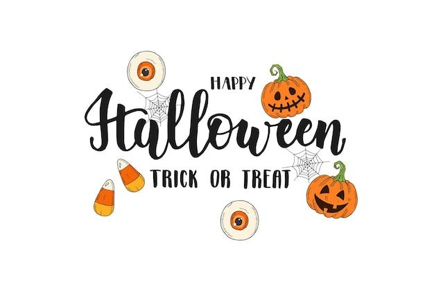 Napis na wakacje halloween. ręcznie robiona kaligrafia pędzla i ręcznie rysowane ikony pumpkin jack, candy corn. wesołego halloween. cukierek albo psikus. halloweenowy tekst na baner, kartkę z życzeniami, zaproszenie na przyjęcie.