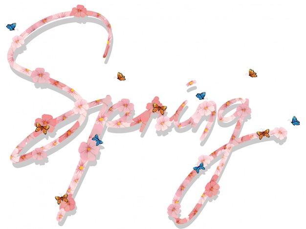 Napis na wiosennym tekście