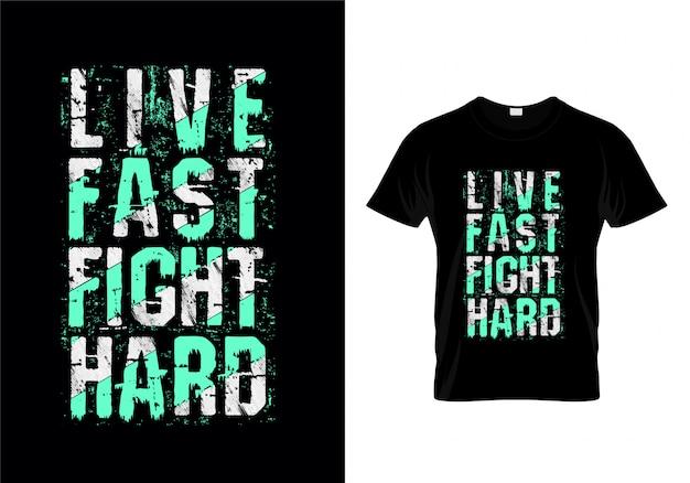 Napis na żywo fast fight hard typography na projekt koszulki