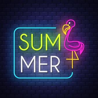 Napis neonowe wakacje letni znak