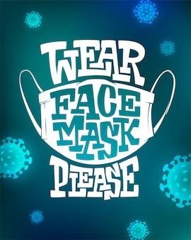 Napis nosić maskę na twarz proszę na niebieskim tle z komórkami wirusa