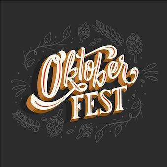 Napis oktoberfest z różnymi narysowanymi elementami
