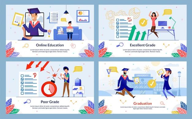 Napis online education, słaba klasa, slajd