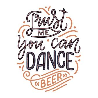 Napis plakat z cytatem o piwie w stylu vintage.