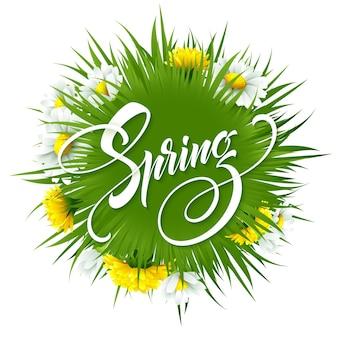 Napis przywitaj wiosnę na tle wiosennych kwiatów. ilustracja