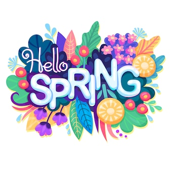 Napis przywitaj wiosnę z kolorowymi kwiatami, liśćmi i trawą.