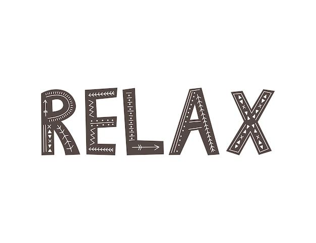 Napis relax w stylu skandynawskim. rysunek odręczny .