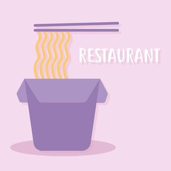Napis restauracji z pudełkiem z makaronem i dwoma pałeczkami