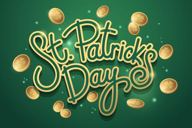 Napis saint patricks day ze złotymi monetami na zielono