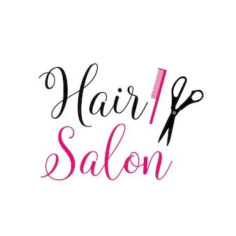 Napis salon fryzjerski z różowym grzebieniem