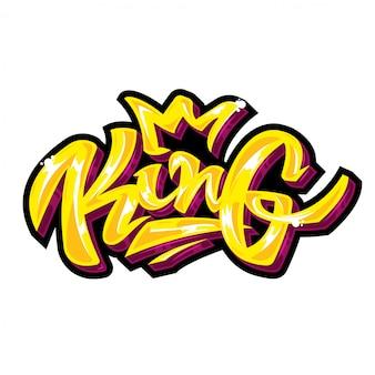 """Napis słowa """"król"""" w złotym kolorze i połysku."""