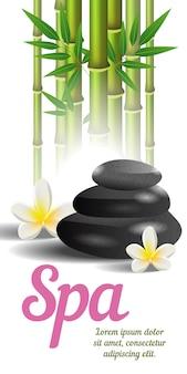 Napis spa, bambus i kamienie. plakat reklamowy salonu spa