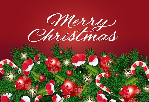 Napis świąteczny z dekoracjami