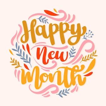 """Napis """"szczęśliwego nowego miesiąca"""" z organicznymi płaskimi elementami"""