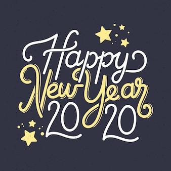 Napis szczęśliwego nowego roku 2020 tapeta