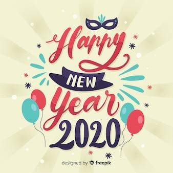 Napis szczęśliwego nowego roku 2020 z balonami