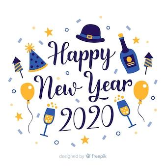 Napis szczęśliwego nowego roku 2020 z szampanem i balonami
