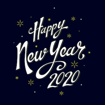 Napis szczęśliwego nowego roku 2020