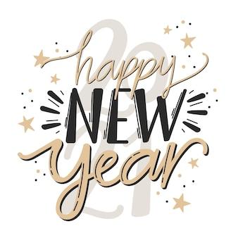 Napis szczęśliwego nowego roku 2021 z gwiazdami