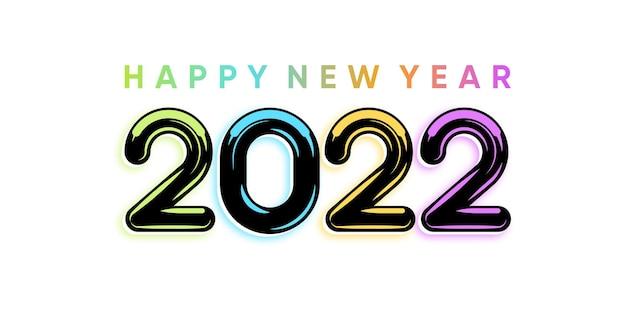Napis szczęśliwego nowego roku 2022 na białym tle z kolorowym stylem. wektor premium