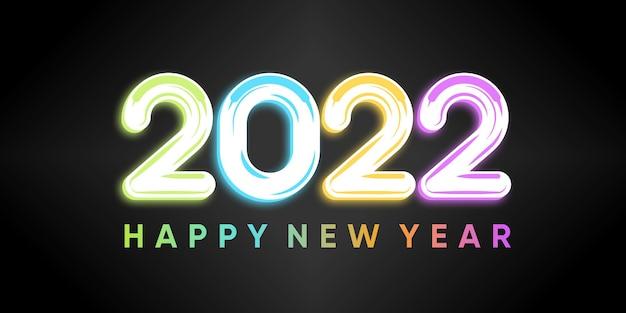 Napis szczęśliwego nowego roku 2022 na czarnym tle z kolorowym stylem. wektor premium