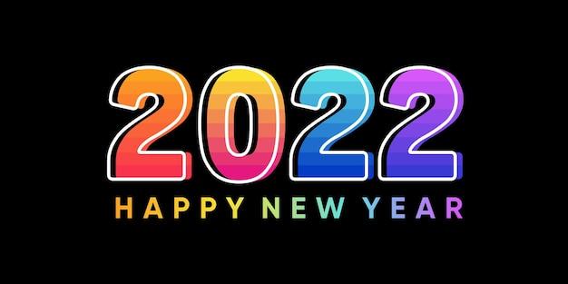 Napis szczęśliwego nowego roku 2022 na tle kolorowy styl. wektor premium