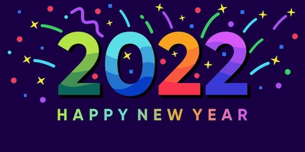 Napis szczęśliwego nowego roku 2022 na tle z eksplodującym konfetti. wektor premium