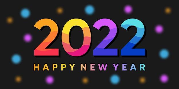 Napis szczęśliwego nowego roku 2022 na tle z kolorowymi światłami bokeh. wektor premium
