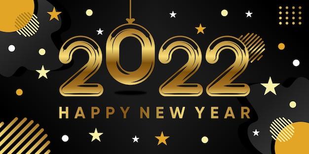 Napis szczęśliwego nowego roku 2022 na tle z realistyczną złotą dekoracją. wektor premium