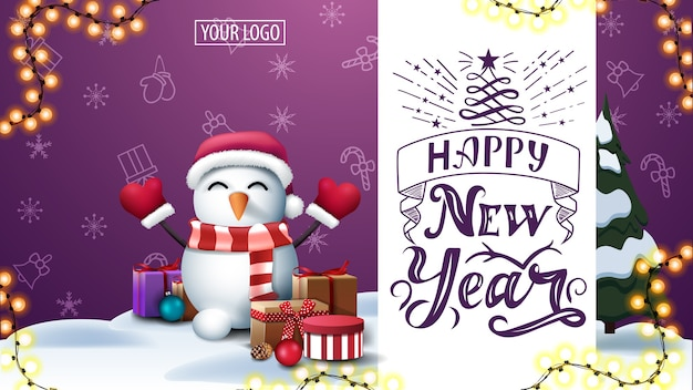 Napis szczęśliwego nowego roku, bałwan w czapce świętego mikołaja z prezentami