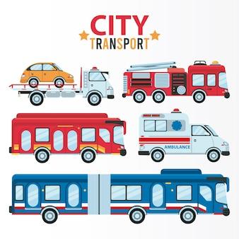 Napis transportu miejskiego i pakiet pięciu ilustracji pojazdów
