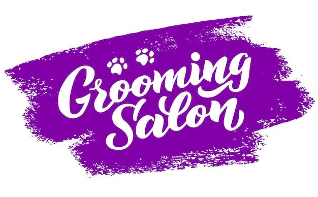 Napis w stylu psa do salonu fryzjerskiego logo do salonu fryzjerskiego dla psów sklep do stylizacji i pielęgnacji psów