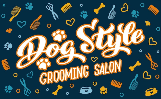 Napis w stylu psa do salonu fryzjerskiego logo do salonu fryzjerskiego dla psów stylizacja i pielęgnacja psów