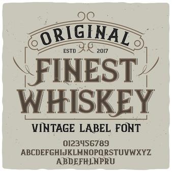 Napis w stylu vintage z najlepszą whisky